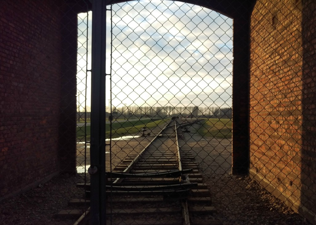 train tracks at birkenau